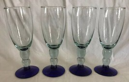 Mouth Blown Cobalt Foot Pale Green Glasses Wine Champagne Goblets Ball S... - $27.71