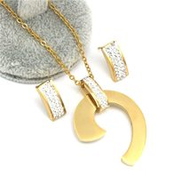 Black bule white zircon Earrings Necklace Sets Gold Color  stainless steel Jewel image 2