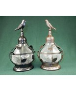 Solar Table Top Lamp, Bird Theme w/Rotating Light, Crackled Glass, Black... - $19.95