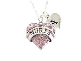 Custom Pink Crystal Nurse Silver Necklace Jewelry Choose Initial RN LPN Gift - $14.24