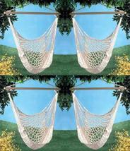 Four (4) swinging cotton net hammock chairs, yard metal ring wood swing chair - $134.00