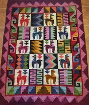 Art decor Tapestry wall hanging The land of the Alpaca Aspen Andes - $225.00