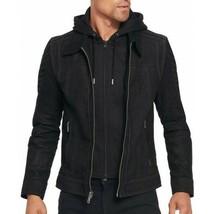 New Men's Motorcycle Biker Black Suede Real Leather Hoodie Jacket - Deta... - $104.99
