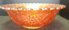 "Antique Marigold 10"" Imperial Carnival Glass Bowl - Grape Pattern - $33.24"