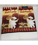 "2 SAME PRINTED KITCHEN TOWELS (15""x25"")FAT CHEF W/PIZZA PIE AT THE RESTO... - $10.88"