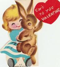 Vintage Valentine Card Girl Hugs Bunny Rabbit Ear's To You 1960's - $6.92