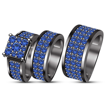 Womens Blue Sapphire Engagement Ring & His Her Matching Band Trio Set 925 Silver - $168.99