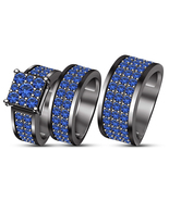 Womens Blue Sapphire Engagement Ring & His Her Matching Band Trio Set 92... - $168.99