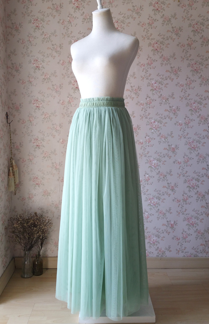 Sage green tulle skirt 1205 3
