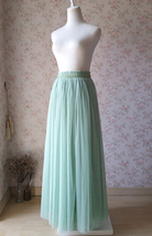 SAGE GREEN Long Maxi Tulle Skirt Full Length Sage Green Wedding Bridesmaid Skirt image 5
