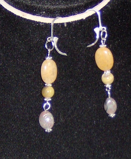 Custom Made! Handcraft Silver Earrings with Yellow Jade, Green Agate & MOP