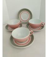 Shenango Pottery China Ware Pink & Gray Stripe 3 Coffee Cups Plus Four S... - $23.76