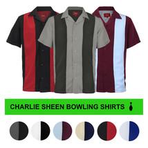 Men's Retro Classic Charlie Sheen Two Tone Guayabera Bowling Casual Dress Shirt image 1