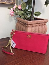 New Coach Madison Leather Wristlet  Chain Link Bag  47930 Punch Pink B26 - $67.72