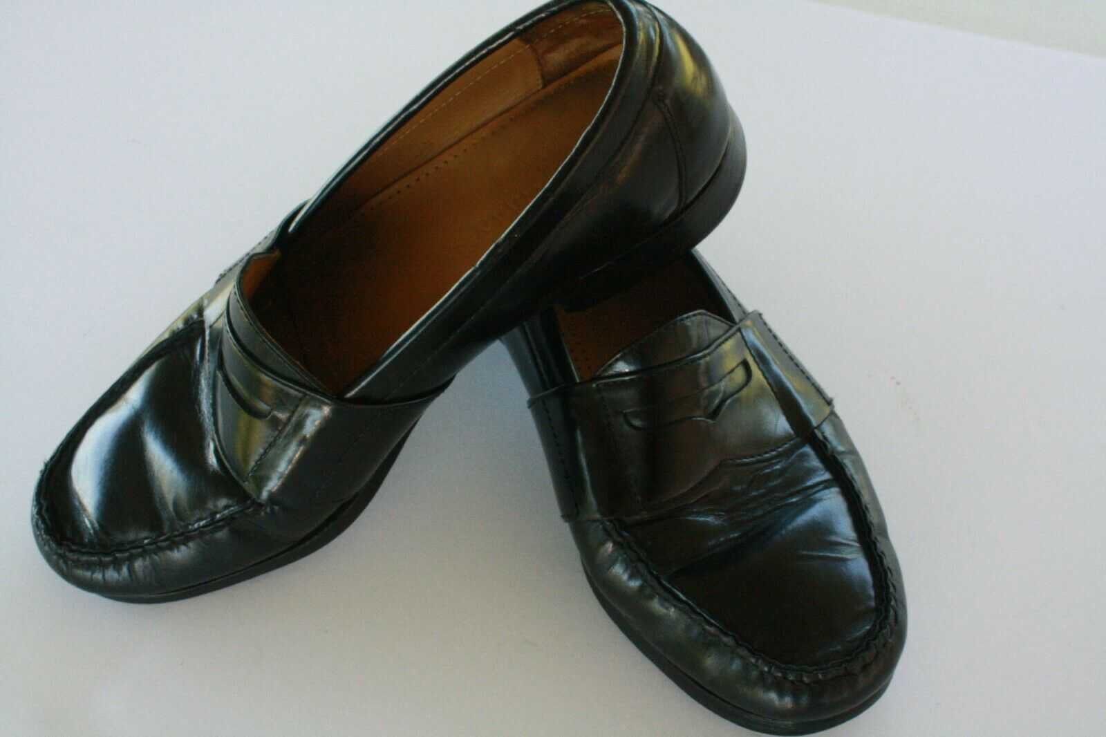 Cole Haan Men's Black Leather Slip On Casual Penny Loafers Size 8.5 M EUC image 2