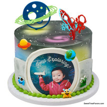 SPACE ROCKET Cake Kit Decoration Birthday Party Cupcake Teens PLANETS Bo... - $9.85