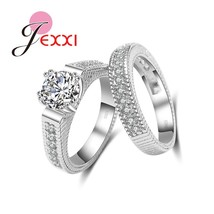 Woman Fashion Ring Sets 925 Serling Silver Jewelry CZ zircon Finger Ring Set Wed - $8.45