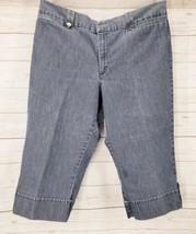 LEE Capri Pants Sz 16 Medium Women Blue Denim Roll Tab Cuff Cropped Wide Leg - $14.85