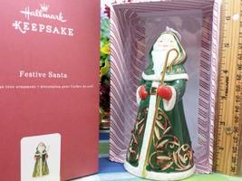 Hallmark Festive SAnta ornament 2016 Father Christmas porcelain ornament - $15.59