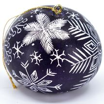 Handcrafted Carved Gourd Art Winter Snowflake Ornament Made in Peru image 4