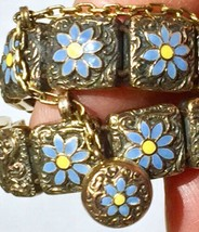 1887 Victorian 15k Mosaic bracelet Forget Me Not flowers charm fob - $2,313.25