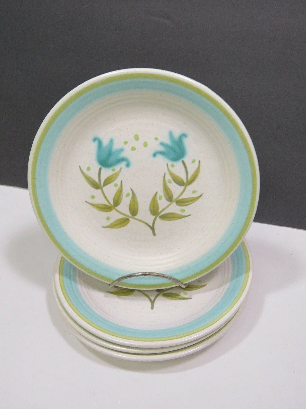 """4 Franciscan Tulip Time Earthenware Bread Side Plates 6.5/8"""""""