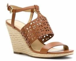 Women's Michael Kors DARCI WEDGE Espadrille Platform Sandal Luggage Leather Tan - $98.00