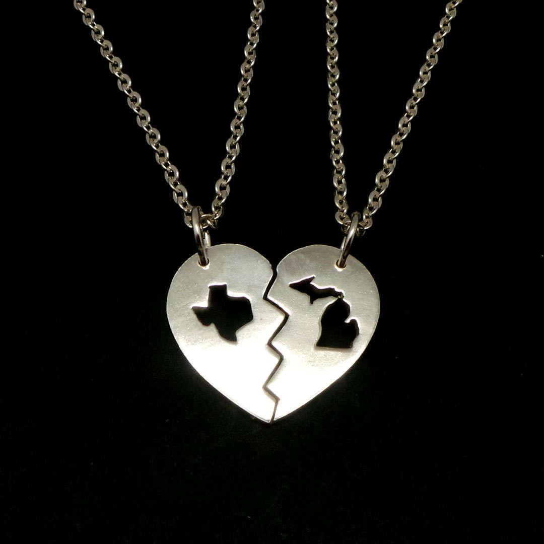 Handmade 925 Silver Long Distance Texas Michigan Broken Heart Couple Necklace  image 2