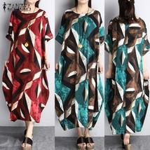 ZANZEA Women Summer Short Sleeve Loose Pockets Maxi Long Dress - $29.58