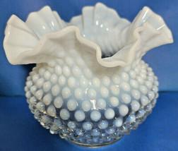 "Fenton White Opalescent Ruffled Hobnail 5"" tall Art Glass Vase  - $44.95"