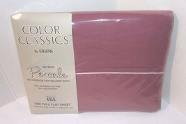 Full Flat Sheet Dusty Rose Pink Berry Stevens Color Classics Percale NOS... - $27.67