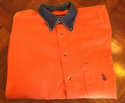 Vintage 90's Nautica Denim Collar Shirt Heavy Cotton Sailing Orange Size M - $6.99