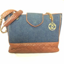 Vintage CHANEL blue jean denim and dark brown leather combination classic shoppe - $1,438.00