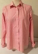 Liz Claiborne 14P Shirt Non Iron Stripe Long Sleeve  Cotton Pink Multi-C... - $15.70