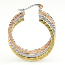 Twisted Tri-Color Silver, Gold & Rose Tone Hoop Earrings-United Elegance image 3