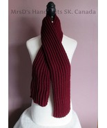52 Inch Burgundy Handknit Ribbed Scarf Childrens Boys Girls Neck Warmer - $22.00