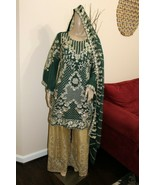 Pakistani Dark Green Straight Shirt Chiffon Suit , Fancy Threadwork and ... - $143.55