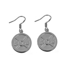 New Weight Sterling silver 925 Earrings dumbbell Barbell plate excercise... - $27.80