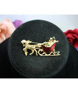 HORSE DRAWN SLEIGH Vintage CHRISTMAS PIN Red Enamel Presents Holly Goldt... - $27.99