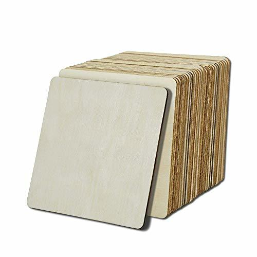 20 Pcs Unfinish Wood Squares Slices,Natural Rustic Craft Wood with Round Corner