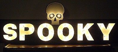 Bethany Lowe Halloween Spooky Tin Sign Marquee LIGHTS