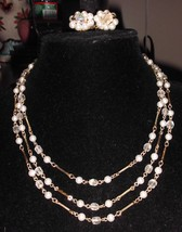 VTG Japan Signed 3 Multi Strand Demi Parure Faux Pearl AB Necklace Earri... - $14.85
