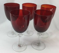 Ruby Red Wine Goblets Clear Stem St Nicholas Square Tis The Season Set Of 5 - $24.75