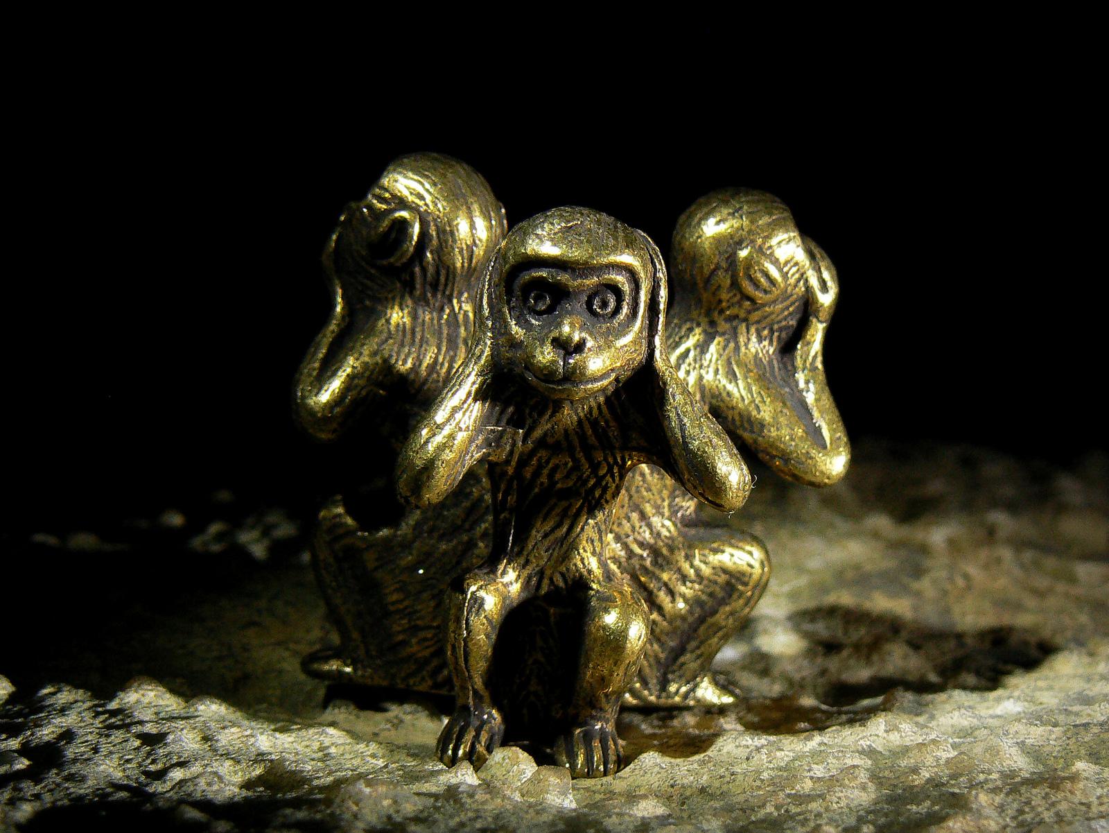 HANUMAN SPIRIT of VICTORY 3 Wise Monkeys Antique Bronze Statuette izida haunted - $373.00