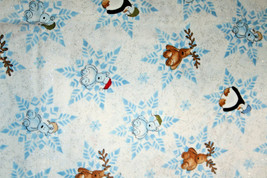 PENQUINS, BEARS AND MOOSE ON GLITTERY SNOWFLAKES - 100% COTTON FABRIC   - $7.91