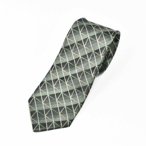 Kenneth Cole Reaction Shiny Green Tones Squares Diagonal Lines Silk Tie Necktie