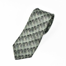 Kenneth Cole Reaction Shiny Green Tones Squares Diagonal Lines Silk Tie ... - $14.84