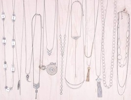 Aventura Fashion Jewelry Necklaces Silver 10 Pieces in Bulk for Wholesal... - $19.59