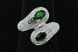 Custom made 14K White Gold Chrome Diopside Ring with Diamonds (Size 6 3/4) - $545.00