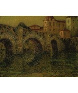 The Bridge at Twilight, Dinan, 1911 - 24x32 inch Canvas Wall Art Home Decor - $51.99